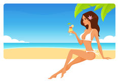 Summer seaside banner with beautiful girl Stock Photos