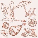 Summer seaside doodles Royalty Free Stock Images