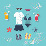 Summer seaside holiday or tropical travel. Summer seaside holiday vector illustration with a conceptual arrangement of a female swimsuit, male clothing Stock Image