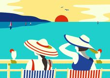 Summer seaside relax poster royalty free illustration