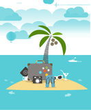 Summer seaside vacation flat illustration Royalty Free Stock Image