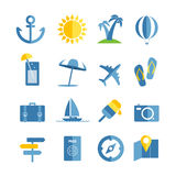 Summer seaside vacation icons. Different stuff collection Stock Photo