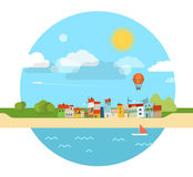 Summer seaside vacation illustration Stock Photo