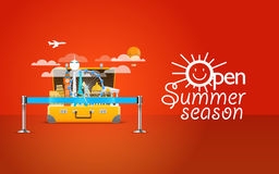 Summer seaside vacation illustration. Vector travel Stock Photo