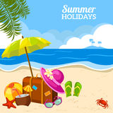 Summer seaside view on the beach poster Royalty Free Stock Photos