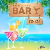 Summer seaside view poster. Cocktails bar royalty free illustration