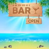Summer seaside view poster. Stock Images
