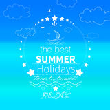 Summer, Seaside view poster. Vector background Royalty Free Stock Photos