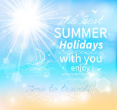 Summer, Seaside view poster. Vector background Royalty Free Stock Images