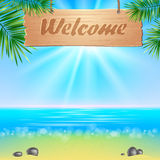 Summer seaside view poster. Vector background. Stock Photos