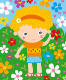 Summer season. Illustration of cute kid with summer element: flowers Stock Photos