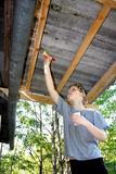 Summer season. The repairs to the roof Royalty Free Stock Image
