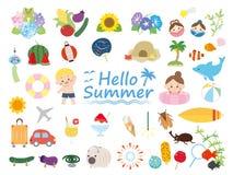 Summer set. Summer season animal nature set royalty free illustration