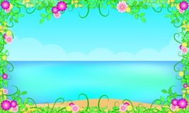 Summer season beach around with leaf flowers beautiful blue sky sea holiday. free copy space for your text. vector illustration royalty free illustration