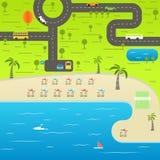 Summer season beach vacation illustration. Vacation vector  Royalty Free Stock Image
