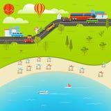 Summer season beach vacation illustration Stock Photos