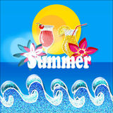 Summer-season. Bleu Background with  sea and flowers and drink Royalty Free Stock Images