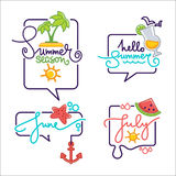 Summer season doodle stickers, Royalty Free Stock Photography