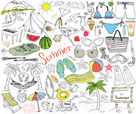 Summer season doodles elements. Stock Photo