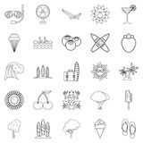 Summer season icons set, outline style. Summer season icons set. Outline set of 25 summer season vector icons for web isolated on white background Royalty Free Stock Photography