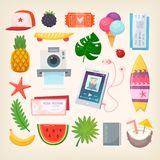 Summer season illustrations. Set of colorful pictures of elements and icons to represent hot adventurous summer season. Vector illustration Stock Photography