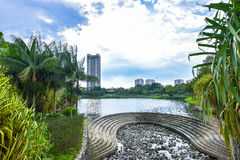 Summer season lake, trees And Green Grass at Desa park city Kuala Lumpur Malaysia. Summer Sunny Trees And Green Grass at Desa park city Kuala Lumpur Malaysia Stock Photography