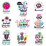 Summer season the logo and illustrations. Summer greetings - handmade color illustrations and drawings Royalty Free Stock Image