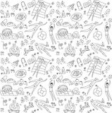 Summer season people doodles seamless pattern Royalty Free Stock Image