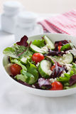 Summer season salad with salad leaves, tomatoes, cucumbers, Italian herbs and cheese Stock Photo