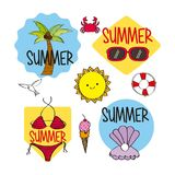 Summer season stickers decoration icons Stock Image