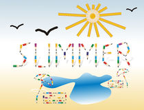 Summer. Seasonal background with colored pencils. Towel, parasol, sun and the word summer made from colored pencils Royalty Free Stock Photo