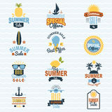 Summer seasonal sale shopping offer logo badge discount vector illustration summertime vacation travel sunny logotype Royalty Free Stock Image