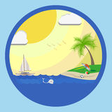 Summer See Beach. A beach where you can see boat, boll, palm tree, fish, umbrella, bird Stock Photos