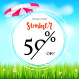 Summer selling ad banner. Fifty percent holiday discounts. Big yellow sun, green field, white clouds and blue sky. Template for shopping, advertising signboard Royalty Free Stock Image