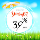 Summer selling ad banner. Fifty percent holiday discounts. Big yellow sun, green field, white clouds and blue sky. Summer selling ad banner. Thirty percent Stock Image