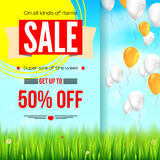 Summer selling ad banner, vintage text design. Fifty percent discounts  Stock Photo