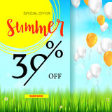 Summer selling ad banner, vintage text design. Holiday discounts, sale background with yellow sun, green field, white Stock Image