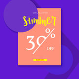 Summer selling ad banner, vintage text design. Summer discount of thirty percent. Holiday discounts, sale background on Stock Photography