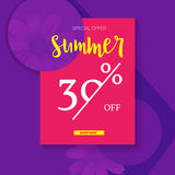 Summer selling ad banner, vintage text design. Summer discount of thirty percent. Holiday discounts, sale background on Royalty Free Stock Photos