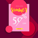 Summer selling ad banner, vintage text design. Summer fifty percent discount. Holiday discounts, sale background on a Royalty Free Stock Photo