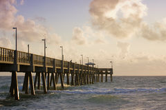 Summer serene scene with fishing pier Stock Image
