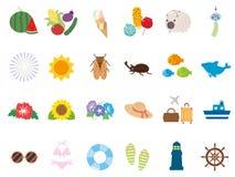 Summer set. Summer animal cute icon set stock illustration