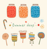 Summer set with berries, jams, flowers Stock Images