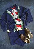 Summer set boys clothes in marine style.Top view. Royalty Free Stock Image