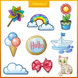 Summer set of cartoon candy icons Royalty Free Stock Image