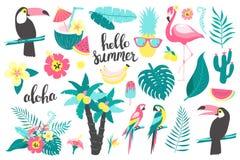 Summer set of design elements tropical leaves, flowers, fruits, flamingos, toucan, parrot. Vector illustration stock illustration