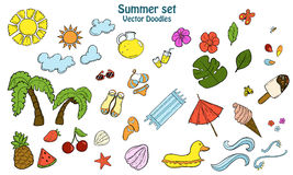 Summer set with different items. Stock Photography