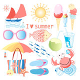 Summer set of different objects Royalty Free Stock Photos