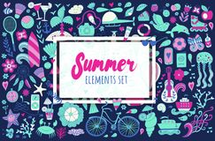 Summer set doodle elements. Travel drawing Royalty Free Stock Photography