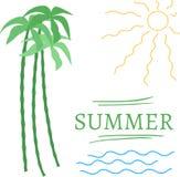 Summer set elements - text, wave, sun, palm. Summer simple set elements - text, wave, sun, palm Royalty Free Stock Image